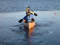 Canoe Building Course - Launching into the Ice on Derwentwater - Overwater Boats